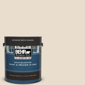 Behr Premium Plus Ultra 1 Gal 23 Antique White Satin Enamel Exterior Paint And Primer In One 985001 The Home Depot