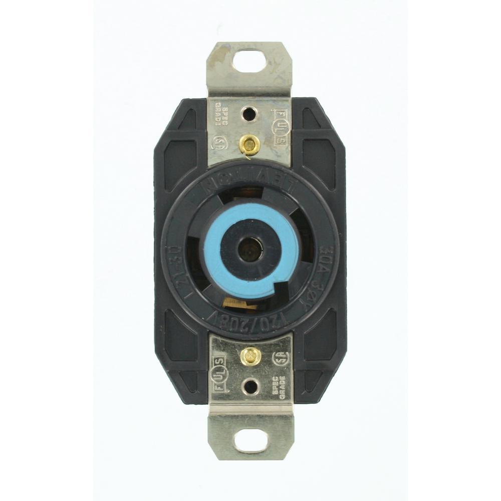black leviton electrical outlets receptacles 2810 64_1000 leviton 30 amp 120 208 volt 3 phase flush mounting grounding locking