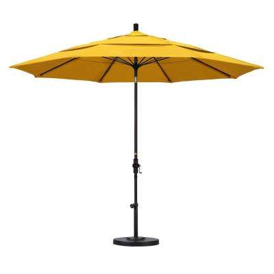 11 ft. Fiberglass Collar Tilt Double Vented Patio Umbrella in Lemon Olefin