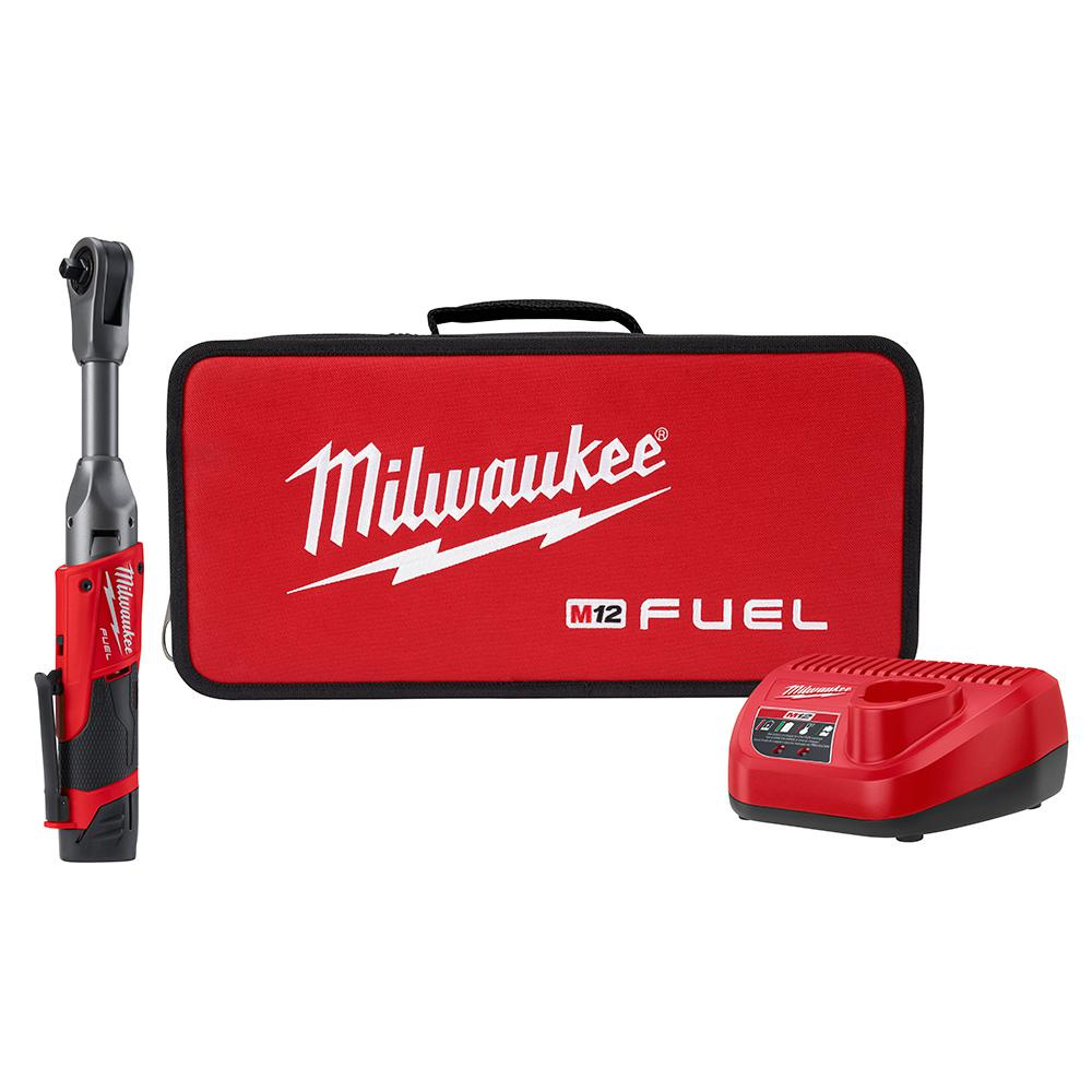 Milwaukee Milwaukee M12 FUEL 12-Volt Lithium-Ion Brushless Cordless 3/8 in. Extended Reach Ratchet Kit with One 2.0 Ah Batteries