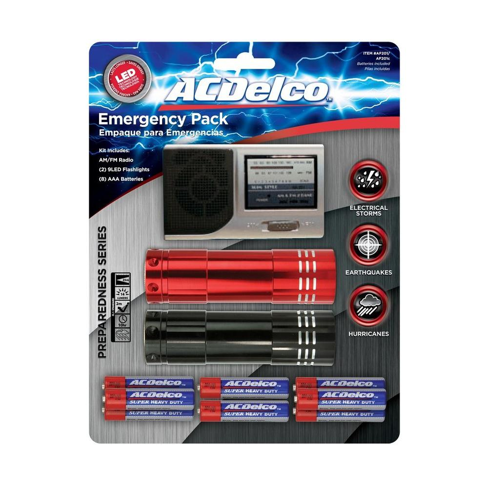null Emergency Preparedness Kit with 2 LED Flashlights, 1 AM/FM Radio and 9 AAA ACDelco Heavy Duty Battery