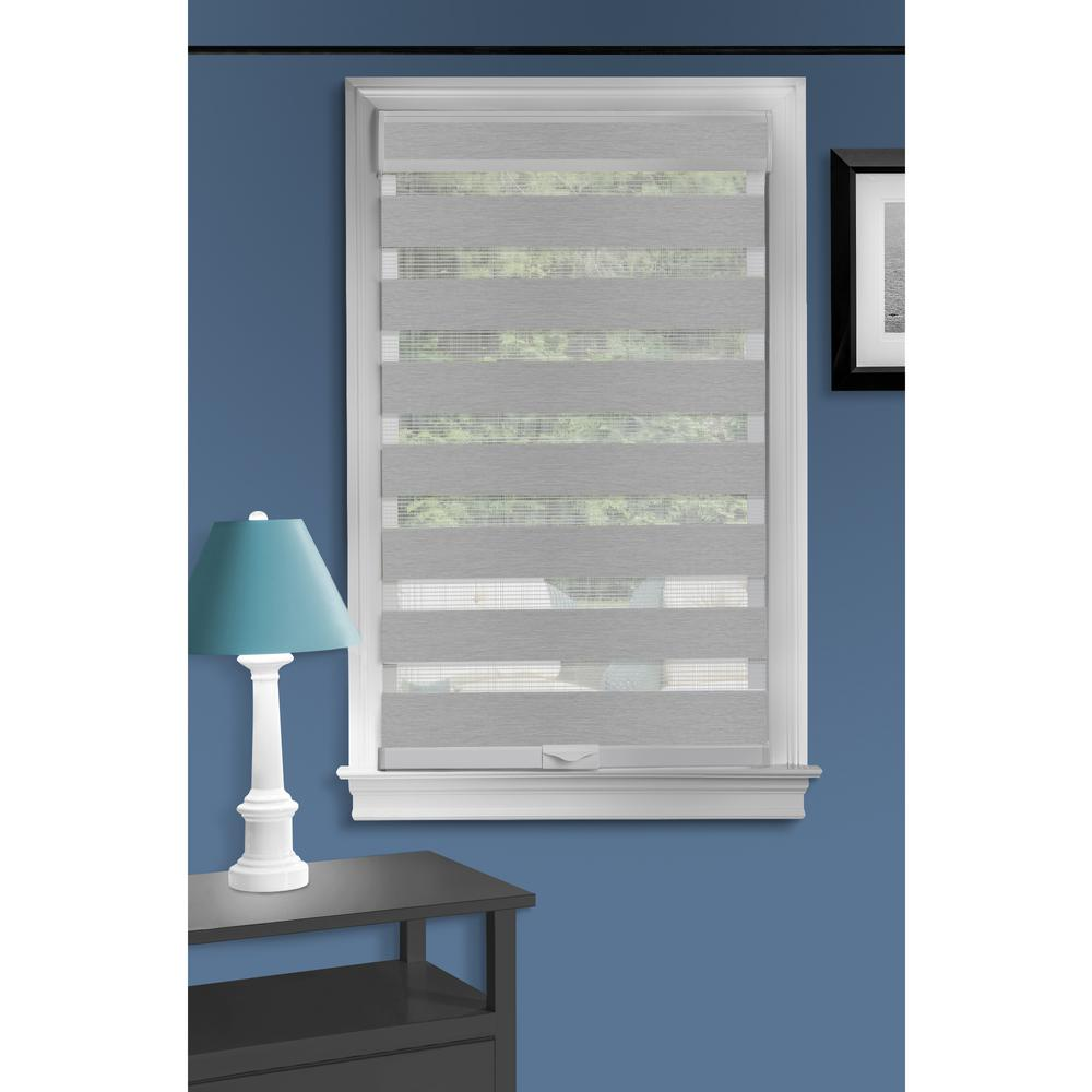 ACHIM Celestial Grey Cordless Light Filtering Double Layered Polyester Roller Shade 36 in. W x 72 in. L