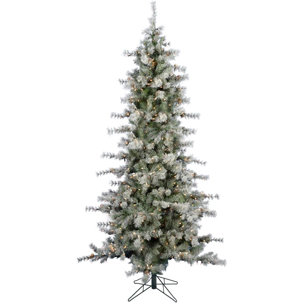 6.5 ft. Buffalo Fir Slim Artificial Christmas Tree with LED String