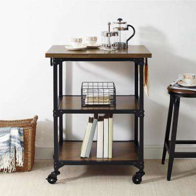 Gladis Rustic Antique Oak/Black Multifunction Cart