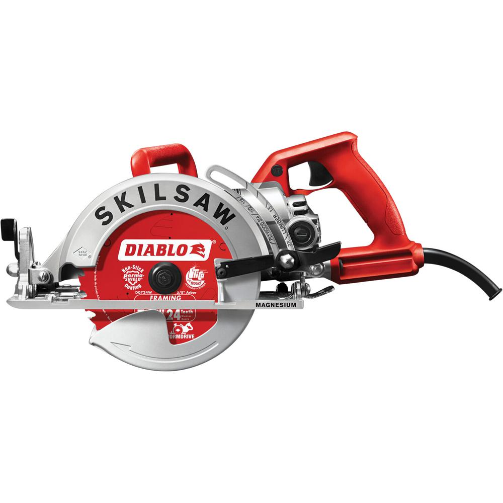 SKILSAW 15 Amp Corded Electric 7-1/4 in. Magnesium Worm Drive Circular Saw with 24-Tooth Carbide Tipped Diablo Blade