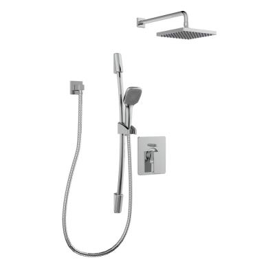 Belanger 1-Spray Square Hand Shower and Showerhead from Wall Combo Kit with Slide Bar and Valve in Polished Chrome
