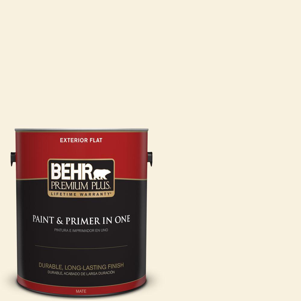 BEHR Premium Plus 1-gal. #340C-1 Powder Sand Flat Exterior Paint