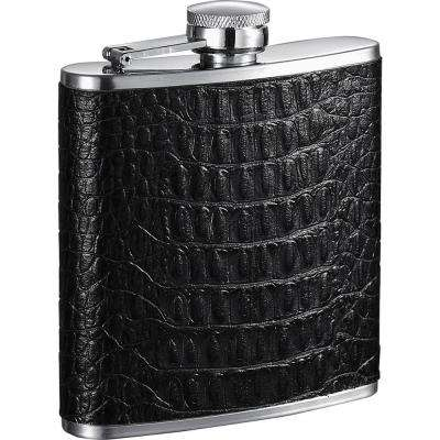 Lucas Handcrafted Black Leather Liquor Flask