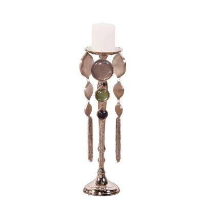 Nickel Plated Candle Holder with Medallions Small