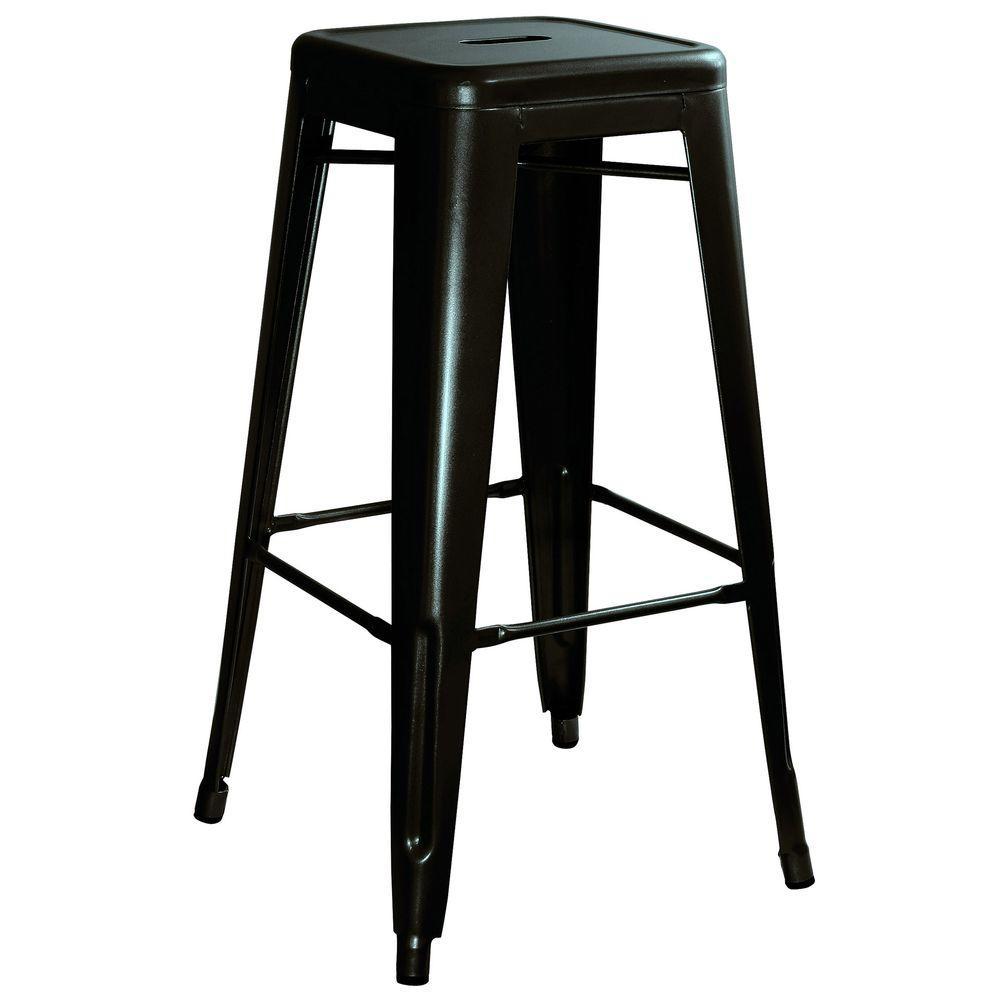Loft Style 30 in. Stackable Metal Bar Stool in Black