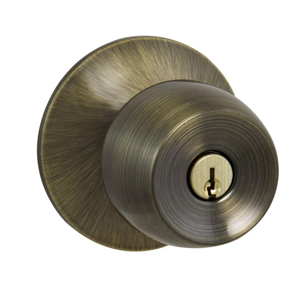 Defiant Brandywine Antique Brass Keyed Entry Door Knob