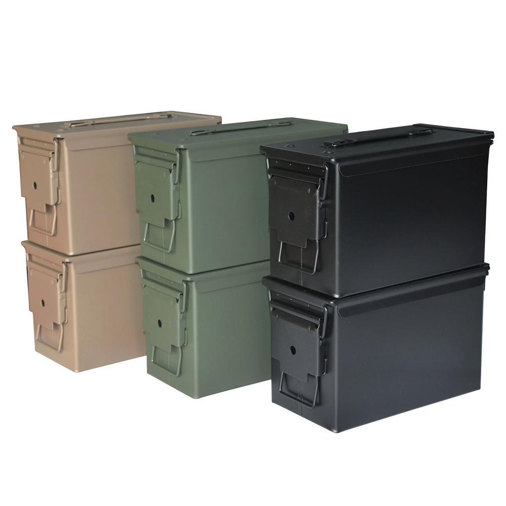 0.50 Cal 12 in. x 6 in. Steel Metal Ammo Storage Boxes in Black OD Green Flat Dark Earth (6-Pack)