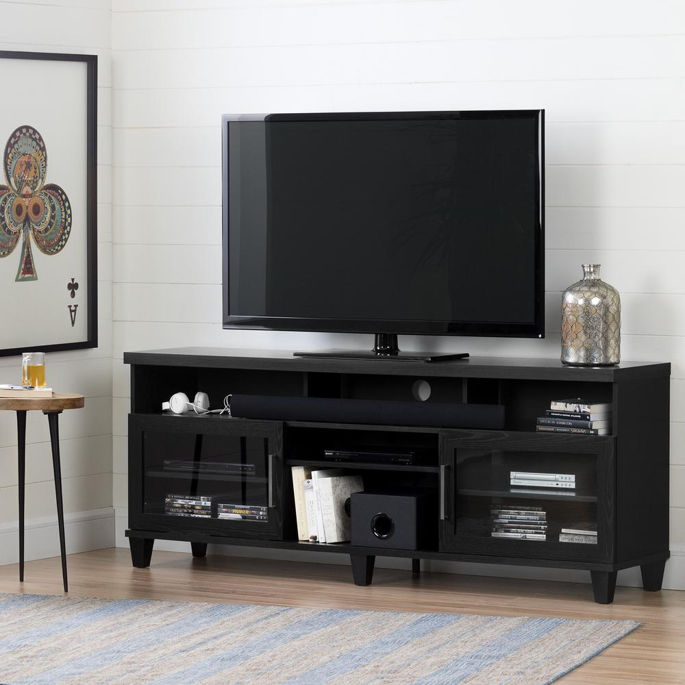 South Shore Adrian Black Oak TV Stand For TVs Up To 75 In.