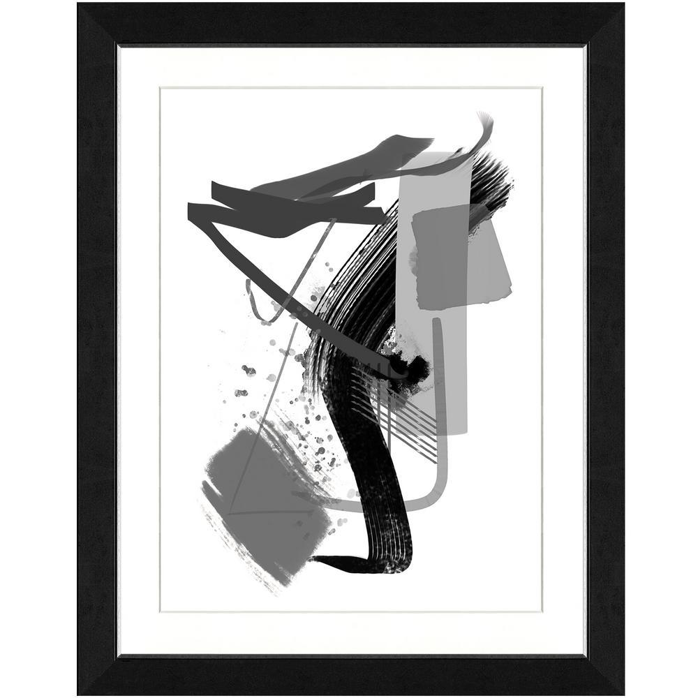 "22 in. x 28 in. ""Calming grays IV"" Framed Archival Paper Wall Art"