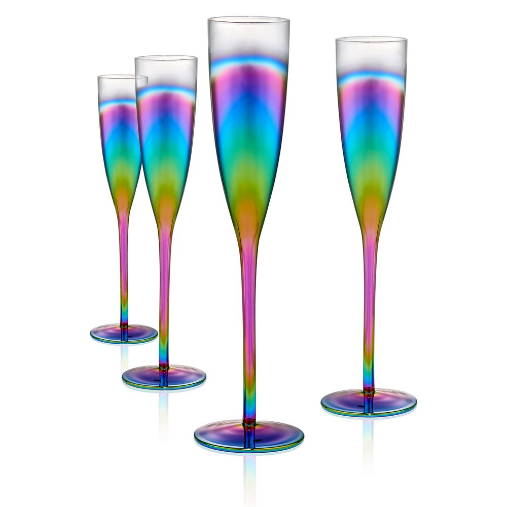 c54ddf58f6a Rainbow 5 oz. Design Champagne Flute (Set of 4)-12841B - The Home Depot