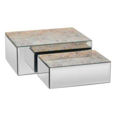 10 in. x 7.75 in. x 4 in. Brown Multicolor Glass Mirrored Box (Set of 2)