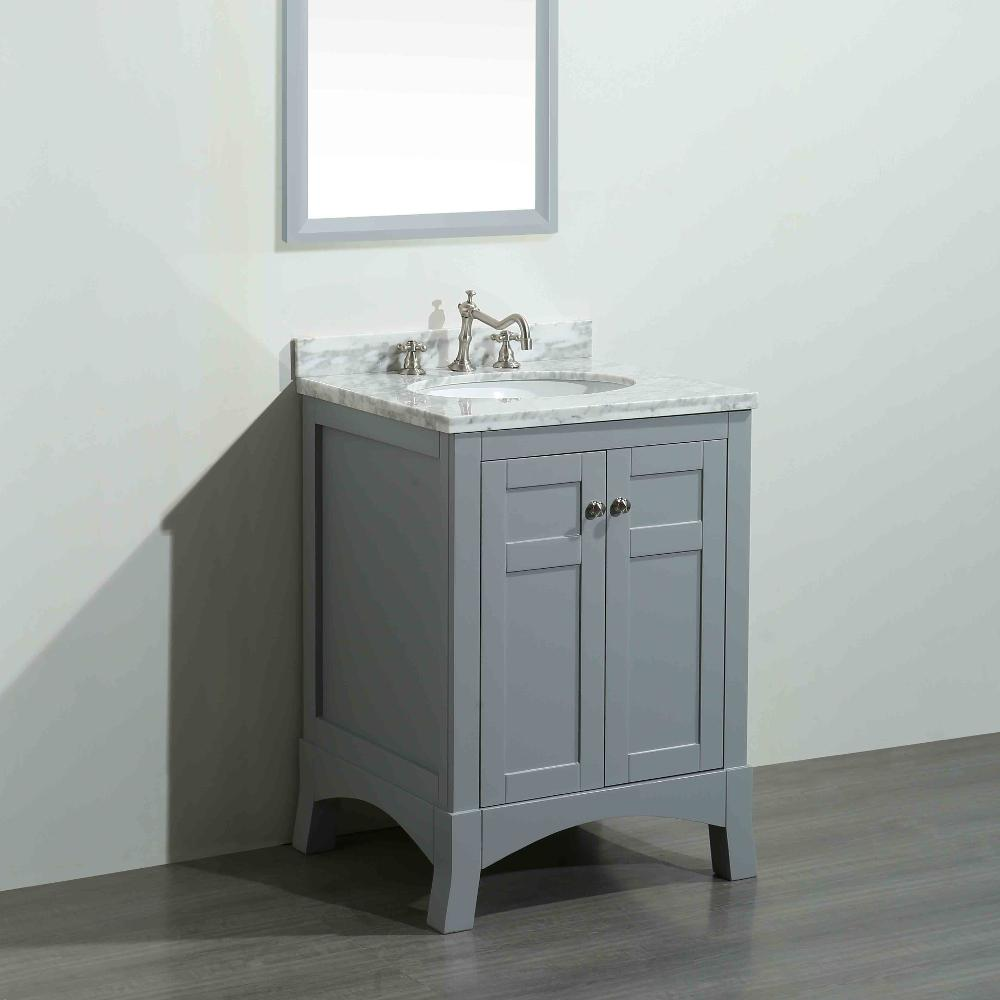 Eviva New York 24 In W X 21 6 In D X 32 6 In H Vanity In Grey With Carrara Marble Vanity Top
