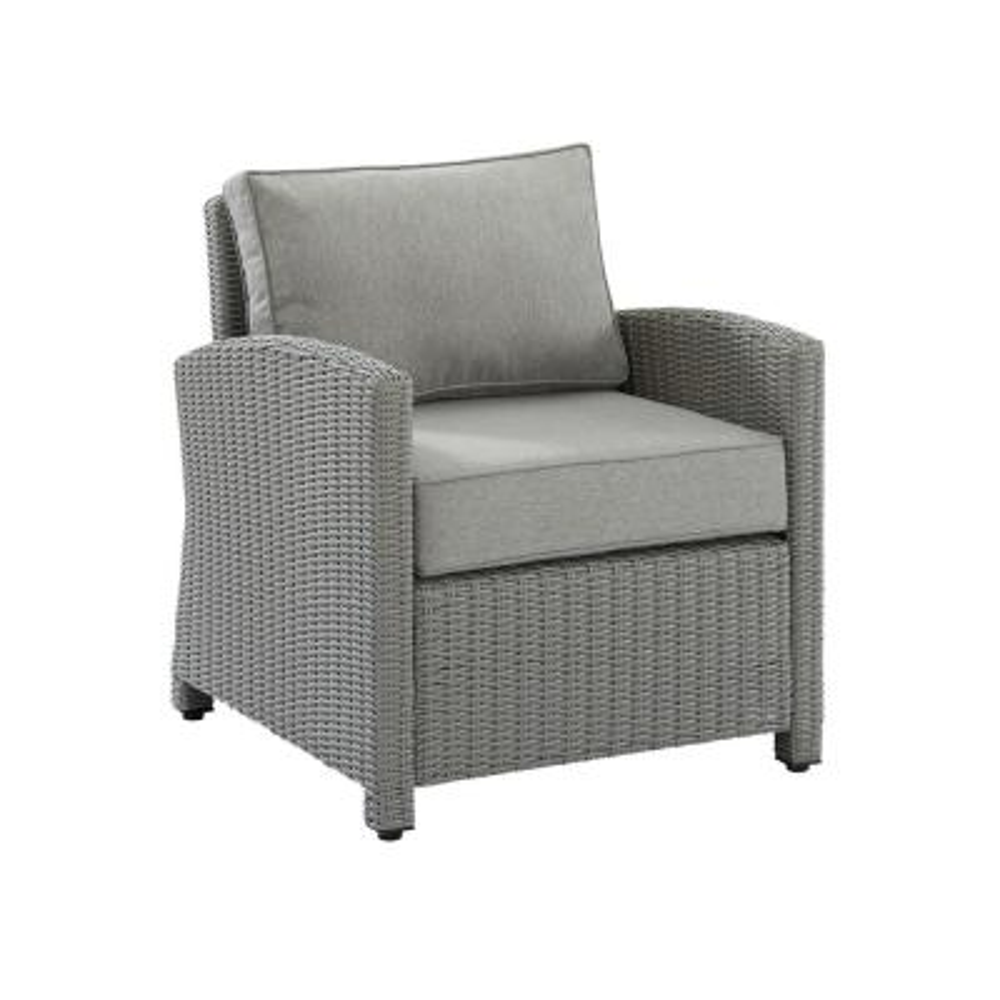 Bradenton Gray Wicker Outdoor Lounge Chair with Gray Cushion