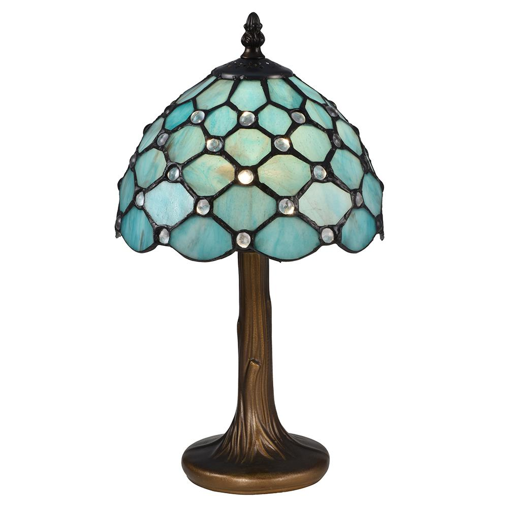 Springdale Lighting 15 in. Castle Point Antique Bronze Table Lamp with Tiffany Art Glass Shade