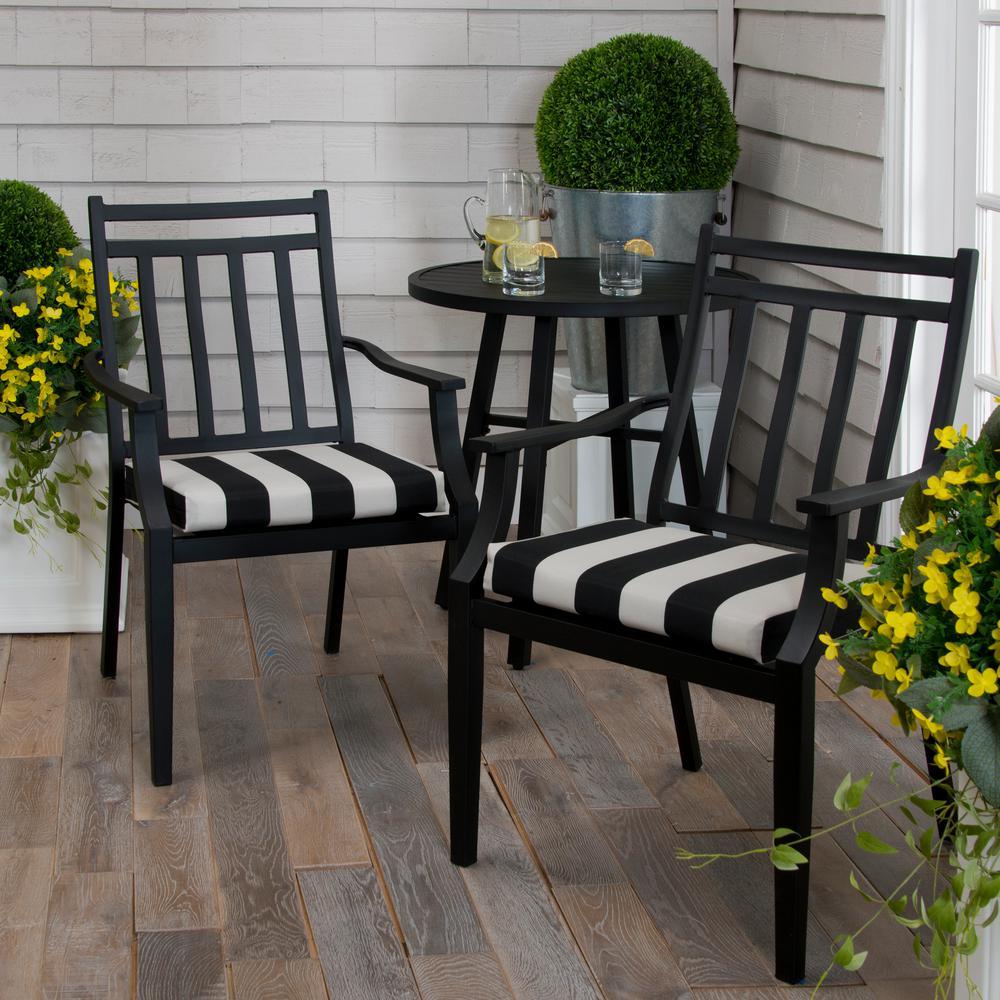 Tuxedo Stripe Black Square Outdoor Seat Cushion (2-Pack)