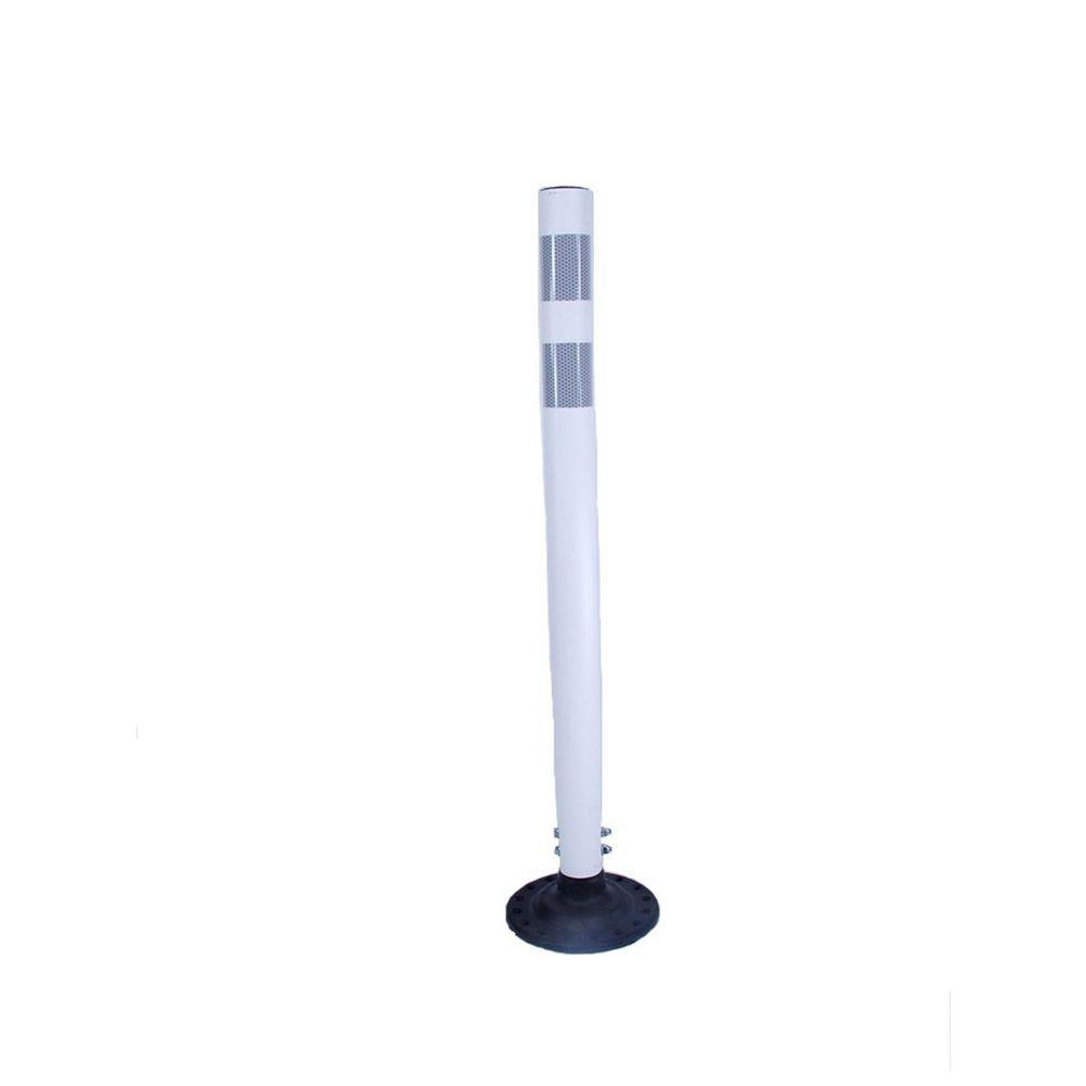 36 in. Round White Boomerang Delineator Post with 2 3 in. HI White Band and Base