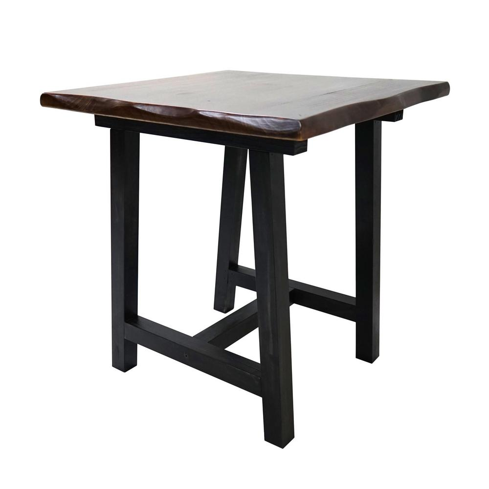Yosemite Home Decor Zealand Trestle Dark Brown Side Table
