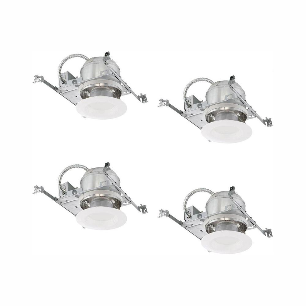 Commercial Electric 6 in  White Integrated LED Recessed Trim Kit (4-Pack)