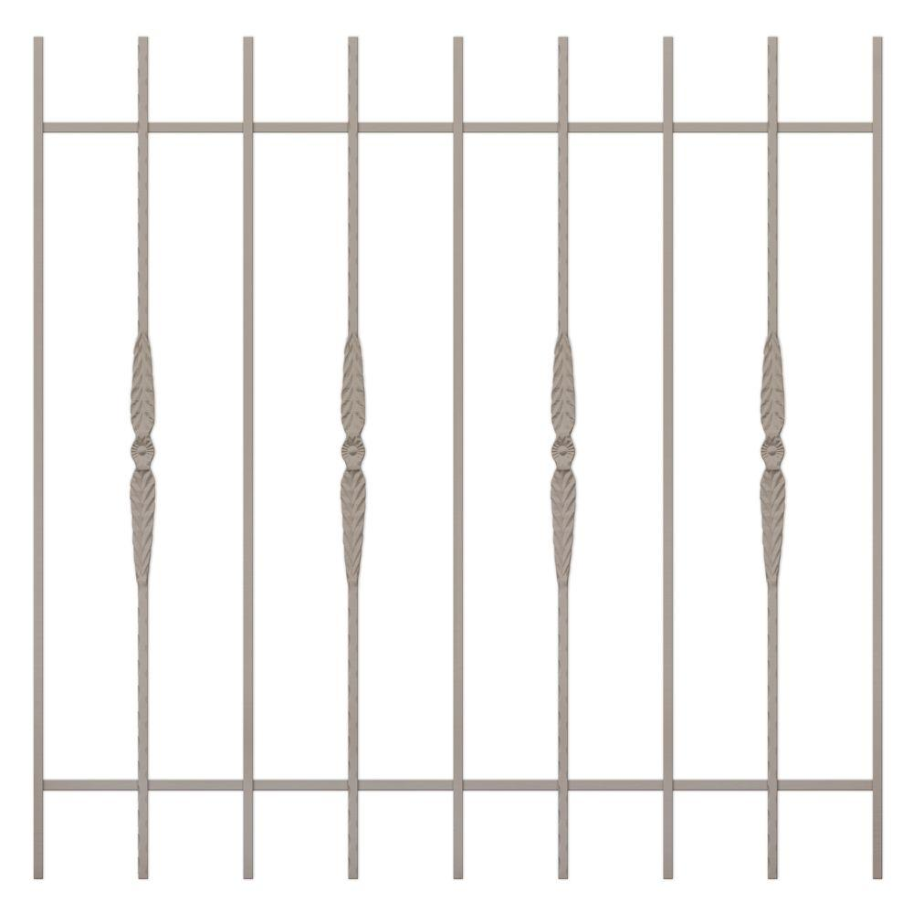 Unique Home Designs Cottage Rose 48 in.x 48 in. Tan 9-Bar Window Guard-DISCONTINUED
