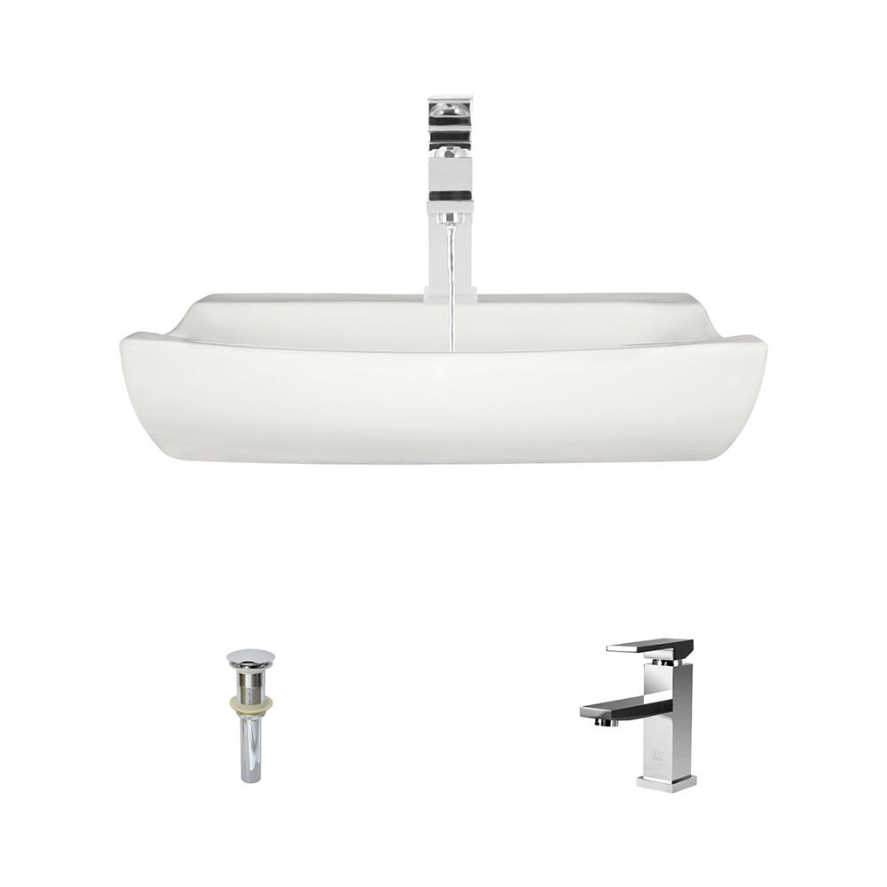 MR Direct Porcelain Vessel Sink in Bisque with 720 Faucet and Pop-Up Drain in Chrome