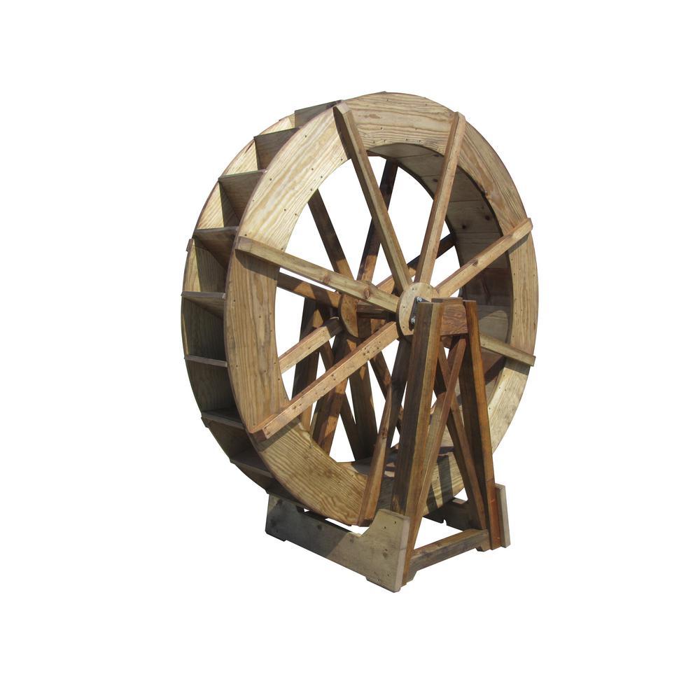 6 ft. Free-Standing Wood Water Wheel