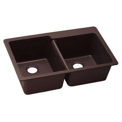 Premium Quartz Drop-In Composite 33 in. Double Bowl Kitchen Sink in Chestnut