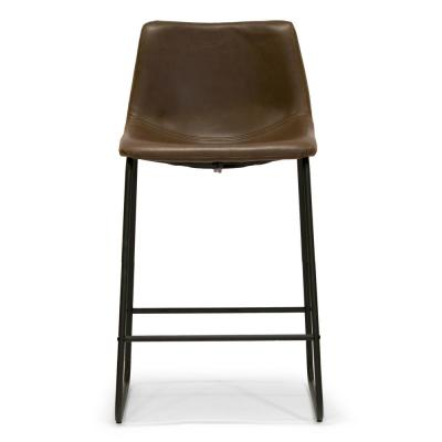 Set of 2 Adan Iron Frame Dark Brown Faux Leather Counter Stool