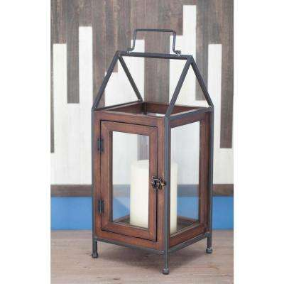 Contemporary 18 in. Cuboid Wood and Glass Candle Lantern