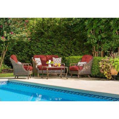 Hanover Ventura 4-Piece Steel Patio Conversation Set with Crimson Red Cushions