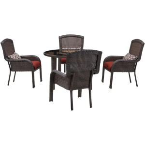 Hanover Strathmere 5-Piece All-Weather Wicker Round Patio Dining Set with Crimson Red... by Hanover