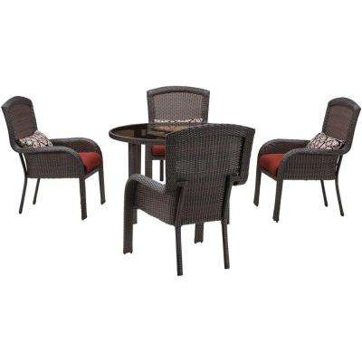 Strathmere 5-Piece All-Weather Wicker Round Patio Dining Set with Crimson Red Cushions