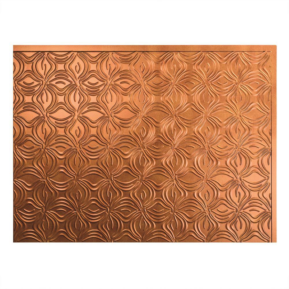 Fasade 24 in. x 18 in. Lotus PVC Decorative Tile Backsplash in Antique Bronze