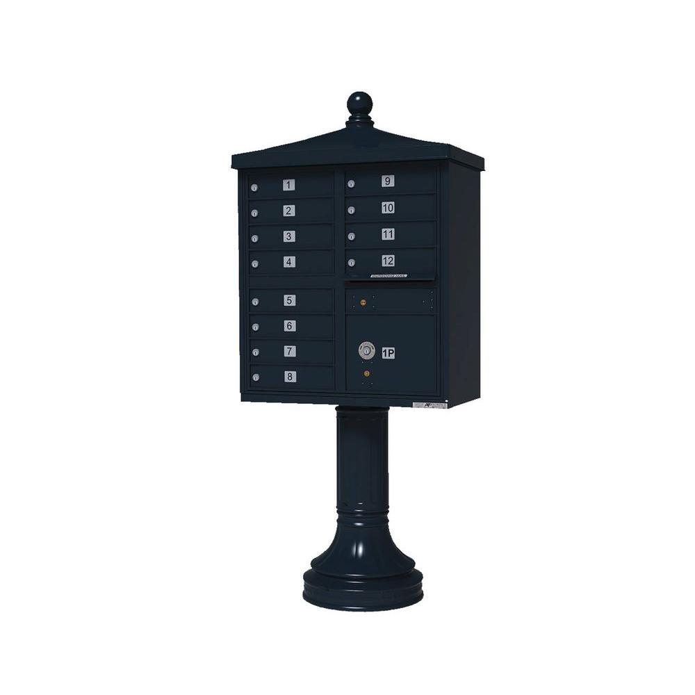Vital 1570 Series 12 Mailboxes 1 Parcel Locker 1 Outgoing Pedestal Mount Cluster Box Unit
