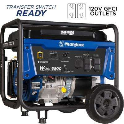 5,500-Watt Gasoline Powered Portable Generator with Digital Data Center