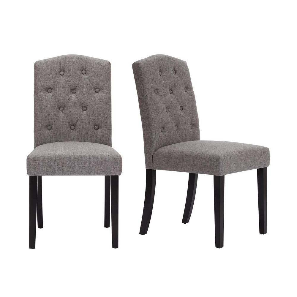 Beckridge Ebony Wood Upholstered Dining Chair with Charcoal Seat (Set of 2) (18.11 in. W x 37.4 in. H)