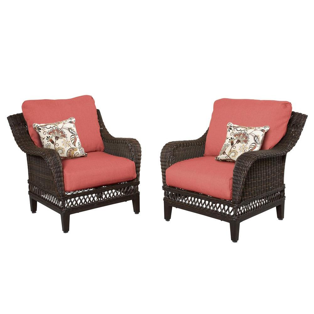 hampton bay woodbury wicker outdoor patio lounge chair with chili cushion 2 pack - Patio Lounge Chairs