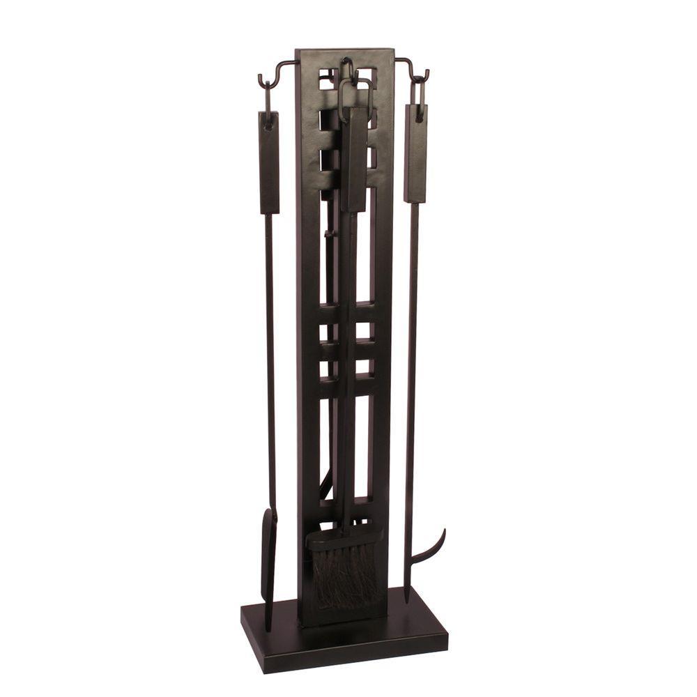 Layton 5-Piece Fireplace Tool Set in Black
