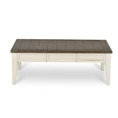 Cayla Dark Oak and White Cocktail Table Dark