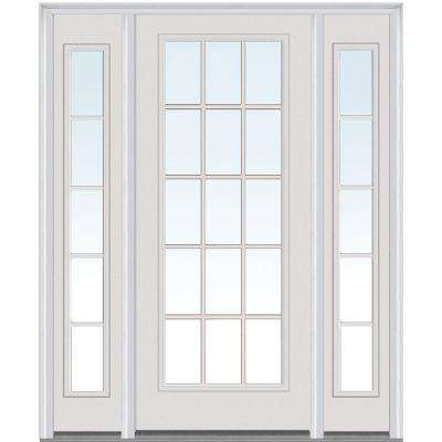 60 in. x 80 in. Internal Grilles Right-Hand Full Lite Clear Painted Fiberglass Smooth Prehung Front Door with Sidelites