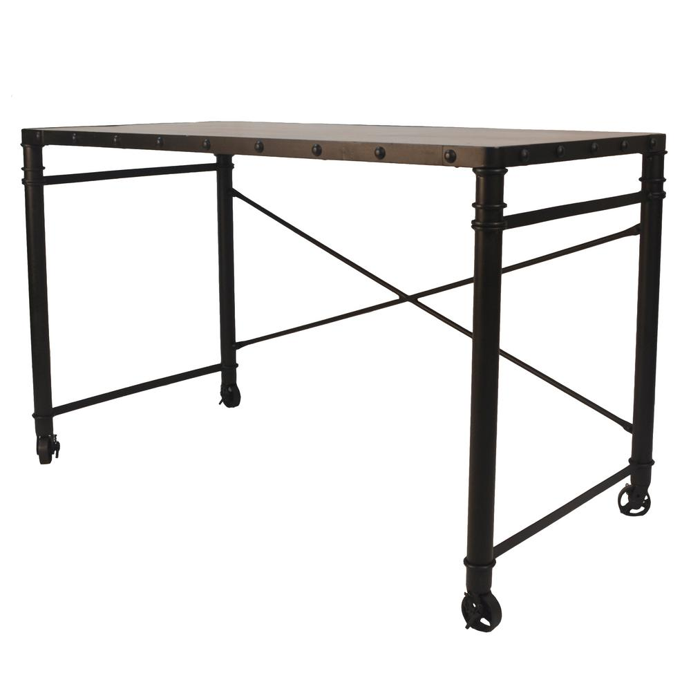 Caileen Chestnut and Black Writing Desk with Casters