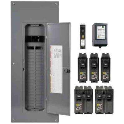 Homeline 200 Amp 40-Space 80-Circuit Indoor Main Breaker Plug-On Neutral Load Center with Cover, Surge SPD - Value Pack