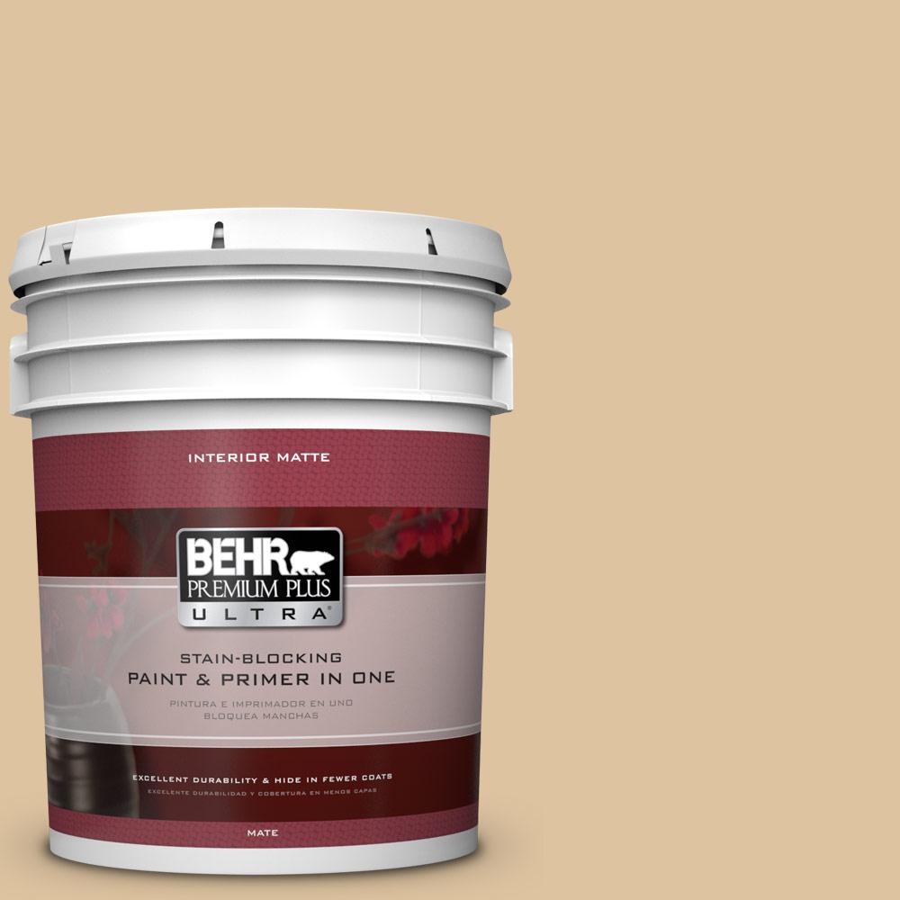 BEHR Premium Plus Ultra 5 gal. #S300-3 Almond Cookie Matte Interior Paint