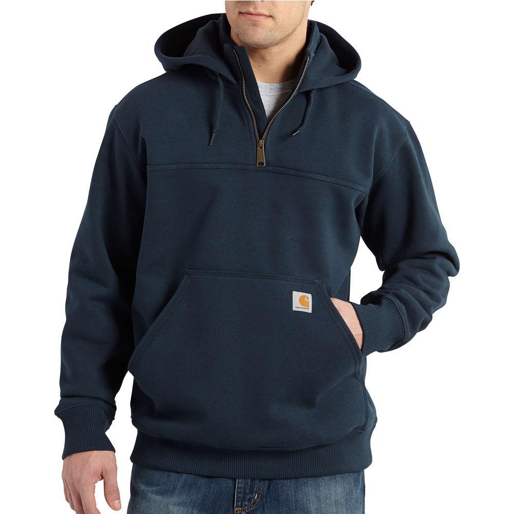Men's Small New Navy Cotton/Polyester Rain Defender Paxton Heavyweight Hooded Zip Mock Sweatshirt