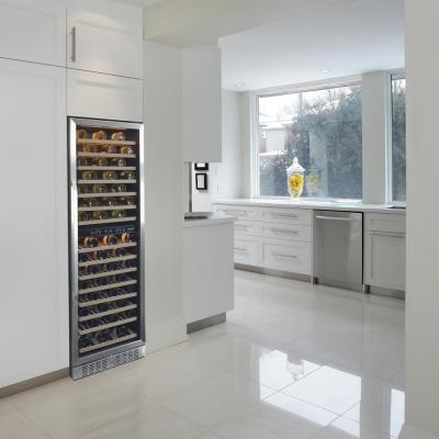 Dual Zone 160-Bottle Built-In Wine Cooler Fridge with Smooth Rolling Shelves and Quiet Operation - Stainless Steel
