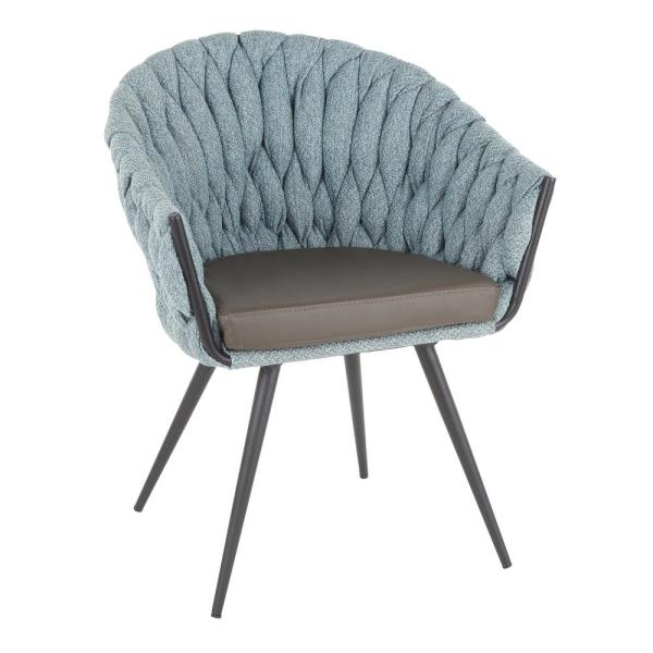 Braided Matisse Blue Fabric and Grey Faux Leather Arm Chair